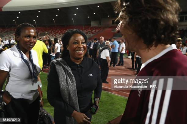 General Secretary Fatma Samba Diouf Samoura talks to FIFA Legend Alexey Smertin of Russia during a FIFA Football Tournament, ahead of the 67th FIFA...