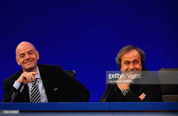 General Secretary Gianni Infantino and UEFA President Michel Platini speak to the media during a Press Conference at the XXXVII Ordinary UEFA...