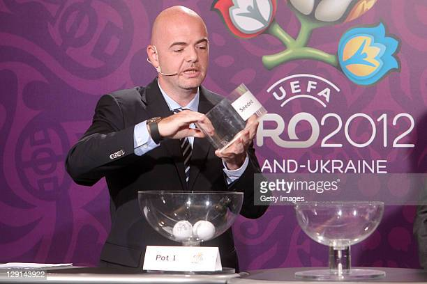 UEFA general secretary Gianni Infantino during the draw for the qualifying playoff matches for UEFA EURO 2012 on October 13 2011 in Krakow Poland