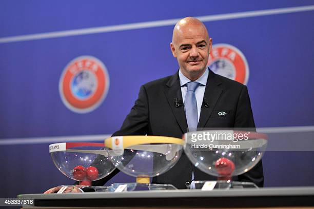 General Secretary Gianni Infantino looks on during the 2014/15 UEFA Europa League Play-off round draw at the UEFA headquarters, The House of European...