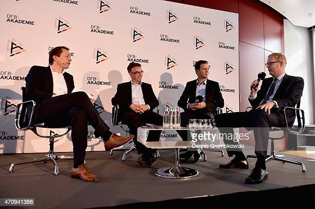 General Secretary Helmut Sandrock, German National Team manager Oliver Bierhoff and Markus Frank of the City of Frankfurt are interviewed during a...