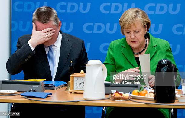 General Secretary Hermann Groehe and German Chancellor Angela Merkel prior a meeting of German Christian Democratic Union Party Board Meeting on...