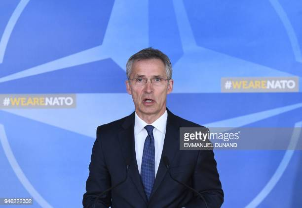 General Secretary Jens Stoltenberg addresses a press conference following British French and US strikes against Syria's regime at the NATO...