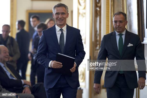 General Secretary Jens Stoltenberg arrives to deliver his pre-Summit address at Lancaster House in London on June 21, 2018.