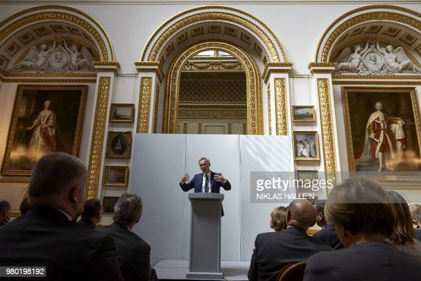 General Secretary Jens Stoltenberg delivers his pre-Summit address at Lancaster House in London on June 21, 2018.