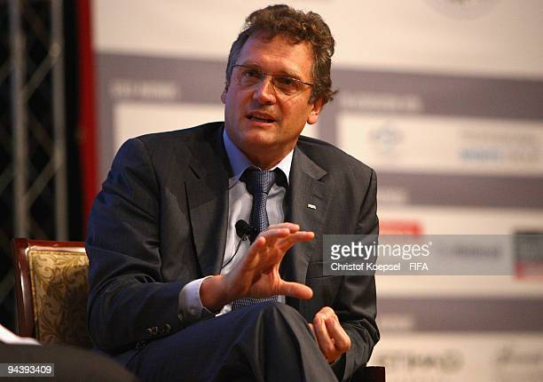 General secretary Jerome Valcke attends the Arabian Sponsorship Forum 2009 at the Emirates Palace Hotel on December 14, 2009 in Abu Dhabi, United...