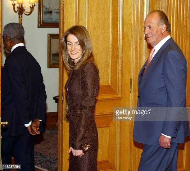 UN General Secretary Kofi Annan Crown Prince Felipe Princess Letizia and King Juan Carlos meet for dinner at the Zarzuela Palace in Madrid