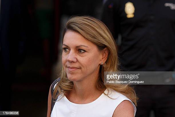 General Secretary Maria Dolores de Cospedal leaves the Spanish High Court on August 14 2013 in Madrid Spain High Court judge Pablo Ruz called...