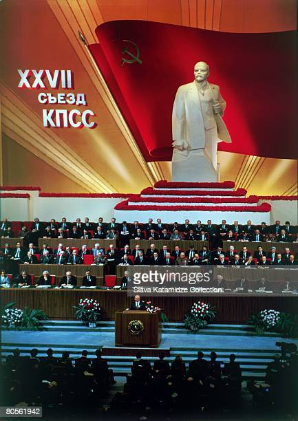 General Secretary Mikhail Gorbachev addresses the 27th Congress of the Communist Party of the Soviet Union in Moscow, 1986. A large statue of...