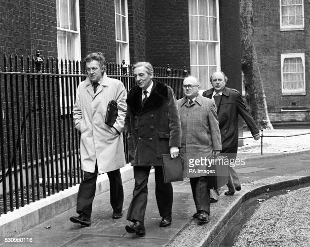 TUC general secretary Mr Len Murray arriving at 10 Downing Street when the Prime Minister Mr James Callaghan was meeting TUC leaders to secure their...