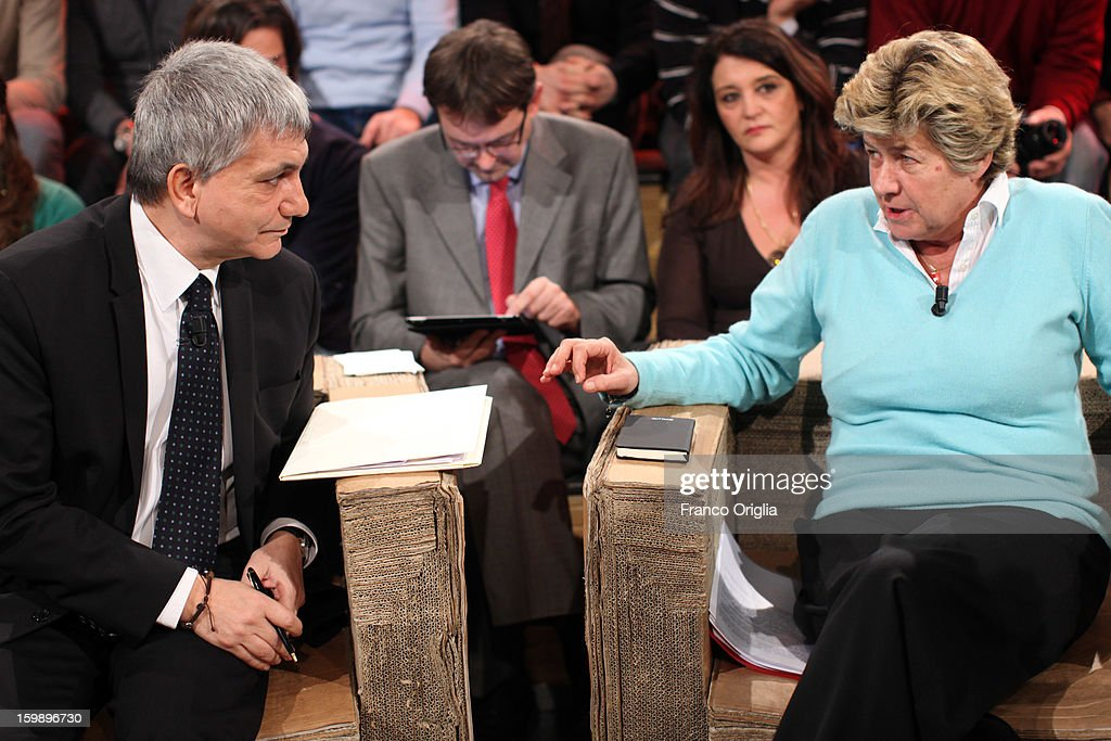 General secretary of CGIL (the biggest Italian labor union) Susanna Camusso (R) and secretary of 'Left Ecology Freedom' party Nichi Vendola (L) attend Ballaro' Italian TV Show on January 22, 2013 in Rome, Italy. National Elections In Italy are scheduled for February 24.