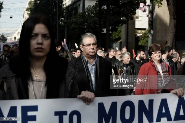 General Secretary of Communist Party of Greece Dimitris Koutsoumpas seen during the demonstration by AllWorkers Militant Front against the voting of...