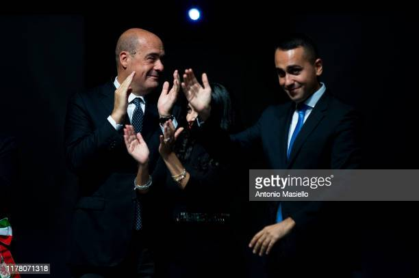 General Secretary of Democratic Party Nicola Zingaretti and Italian Minister of Foreign Affairs Luigi Di Maio attend the press conference to present...