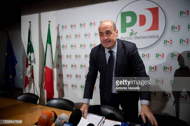 """General Secretary of Democratic Party Nicola Zingaretti attends a press conference organized by the Democratic Party about """"A Plan for Italy"""", on..."""