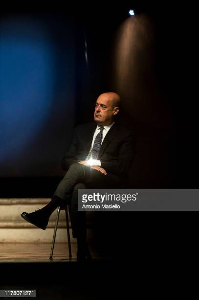 General Secretary of Democratic Party Nicola Zingaretti attends the press conference to present the budget maneuver on October 25 2019 in Narni Italy