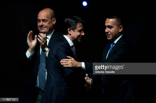 General Secretary of Democratic Party Nicola Zingaretti Italian Prime Minister Giuseppe Conte and Italian Minister of Foreign Affairs Luigi Di Maio...