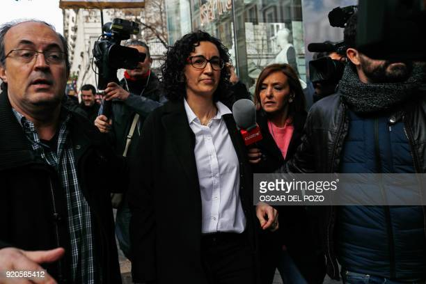 General secretary of 'Esquerra Republicana de Catalunya' ERC , Marta Rovira leaves the Spanish Supreme Court on February 19 in Madrid. - A Spanish...