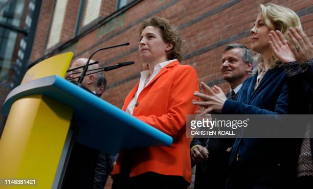 General Secretary of Free Democratic Party and top candidate for the European elections Nicola Beer gives a speech after the first results in the...