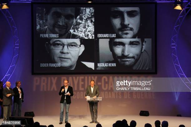 General secretary of French NGO reporters without borders Christophe Deloire delivers a speech in tribute to journalists currently held hostage in...