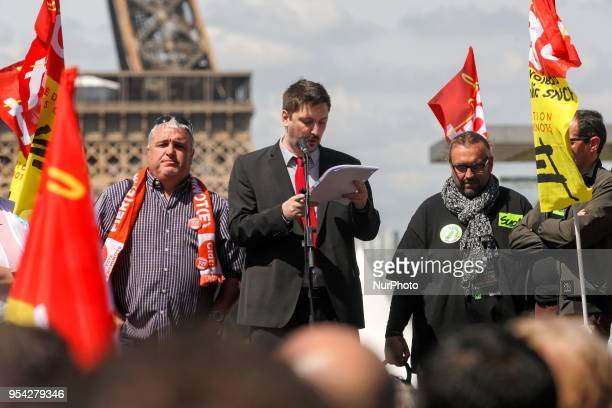 General Secretary of French workers' union CGT rail federation Laurent Brun with French CFDT trade union leader Didier Aubert and representative of...