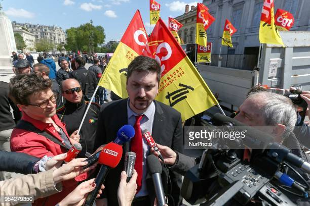 General Secretary of French workers' union CGT rail federation Laurent Brun speaks with the press during a gathering of employees of the stateowned...