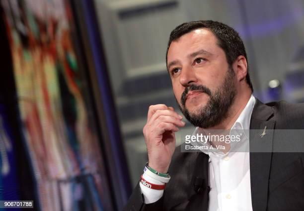 General Secretary of Italian Party Lega Nord Matteo Salvini attends 'Porta a Porta' tv show on January 18 2018 in Rome Italy