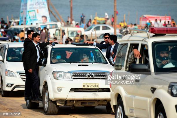 General Secretary of the All India Congress Committee party for Uttar Pradesh Priyanka Gandhi Vadra leaves after taking a holy dip at the Sangam...