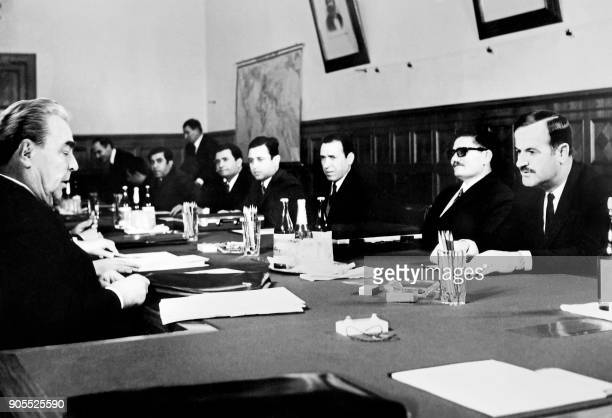 General Secretary of the Communist Party Central Committee Leonid Brezhnev meets Syrian delegation preside over Hafez elAssad on February 1971 on...