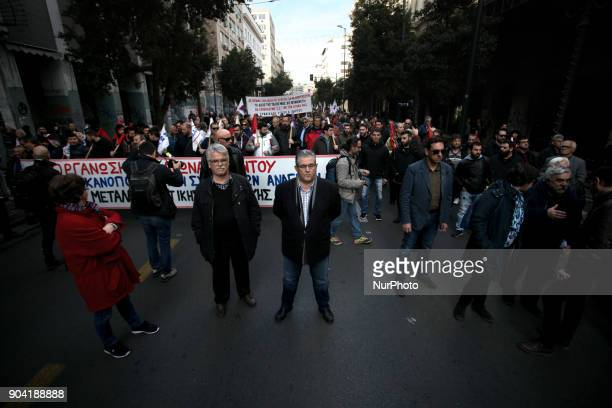 General Secretary of the Communist party of Greece Dimitris Koutsoubas takes part in a 24hours strike in Athens Greece on January 12 2018 by Greek...