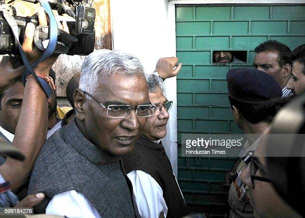 General Secretary of the Communist Party of India leader Sitaram Yechury and leader D Raja outside the gate of senior separatist leader of the...