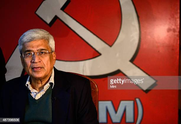 General Secretary of the Communist Party of India Prakash Karat poses for a profile shoot during an interview on January 24 2014 in New Delhi India