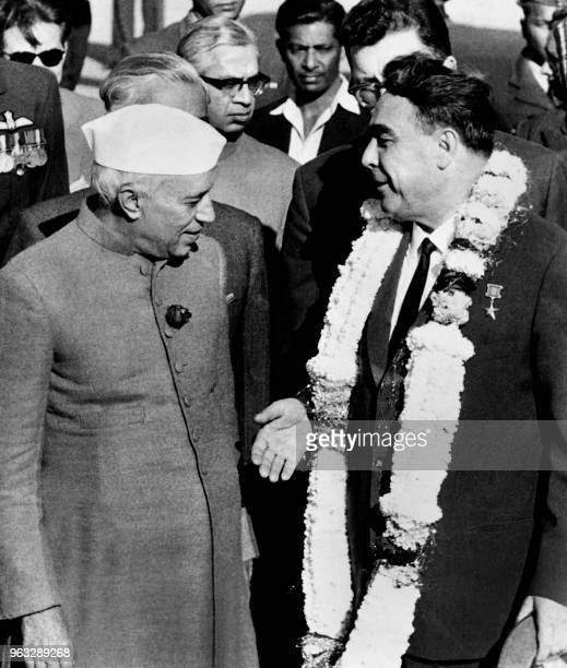 General Secretary of the Communist Party of the Soviet Union Leonid Brezhnev is welcome by Prime Minister of India Jawaharlal Nehru on December 15...
