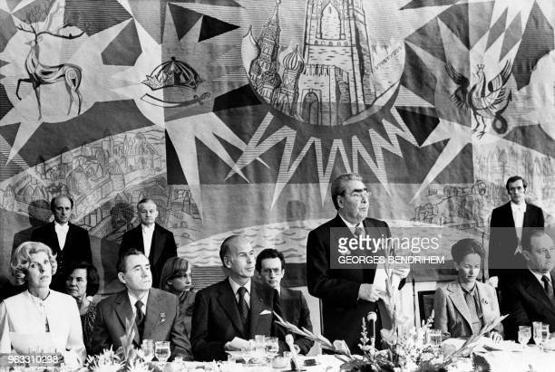 General Secretary of the Communist Party of the Soviet Union Leonid Brezhnev pronounces a speech on June 22 1977 during a lunch at the Russian...