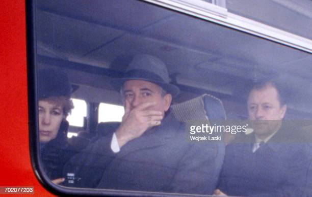 Earthquake in Armenia General Secretary of the Communist Party of the Soviet Union Mikhail Gorbachev visits Spitak an Armenian village destroyed by...