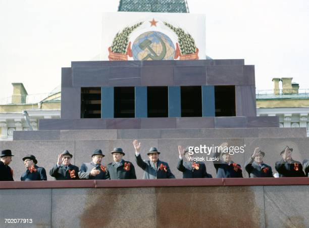 General Secretary of the Communist Party of the Soviet Union Mikhail Gorbachev, Prime Minister of the USSR Nikolai Ryzhkov and other high Soviet...