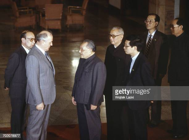 General Secretary of the Communist Party of the Soviet Union Mikhail Gorbachev and Chinese paramount leader Deng Xiaoping during a Chinese-Soviet...