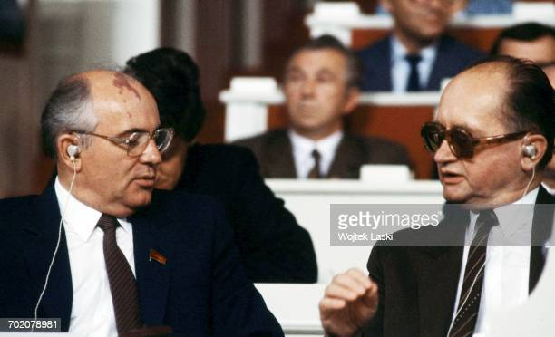 General Secretary of the Communist Party of the Soviet Union Mikhail Gorbachev and leader of the People's Republic of Poland Wojciech Jaruzelski at...