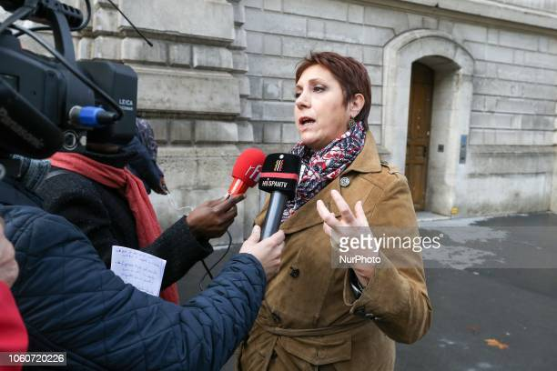 General Secretary of the Federation syndicale unitaire Bernadette Groison speaks with press as she demonstrates during a nationwide strike to...