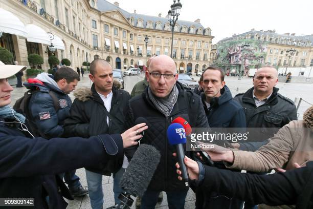 General Secretary of the Force Ouvriere penitentiary union Emmanuel Baudin addresses the media as he arrives for a meeting with the French Justice...