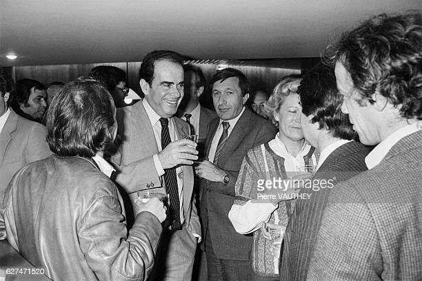 General Secretary of the French Communist Party Georges Marchais and his wife Liliane celebrate the victory of Francois Mitterrand in the...