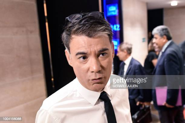 General Secretary of the French Socialist Party Olivier Faure speaks to the press prior to the arrival of France's Interior Minister who will appear...
