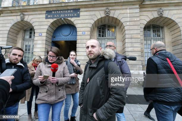 General Secretary of the General Confederation of Labour penitentiary union Christopher Dorangeville addresses the media as he arrives for a meeting...