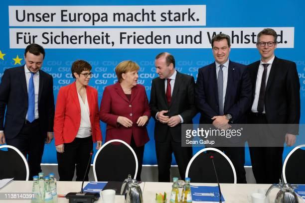 General Secretary of the German Christian Democrats Paul Ziemiak CDU Chairwoman Annegret KrampKarrenbauer German Chancellor Angela Merkel CDU/CSU...