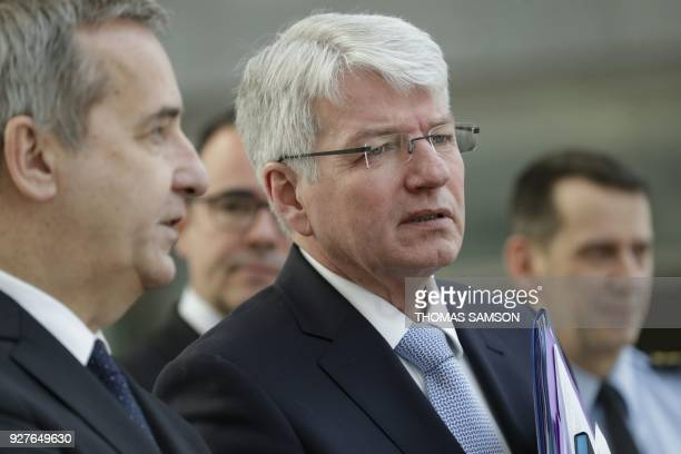 General Secretary of the Interior Ministry Denis Robin and General director of the French National Police Eric Morvan talk prior to attending a...
