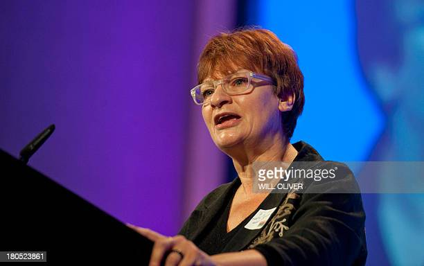 General Secretary of the National Union of Teachers Christine Blower addresses a rally of the NUT and NASUWT trade unions at the Queen Elizabeth...
