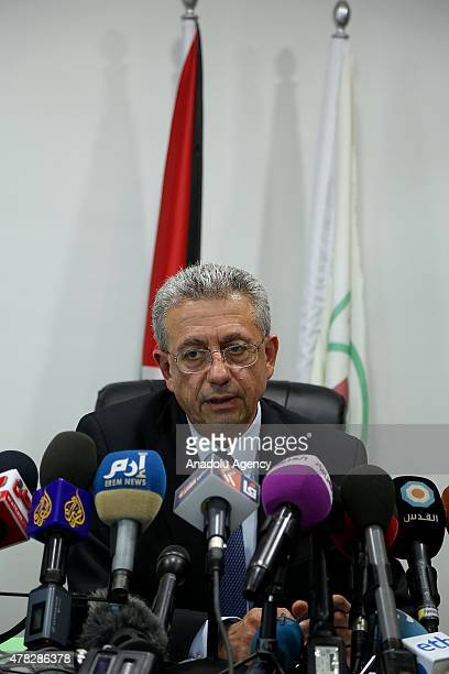 General Secretary of the Palestine National Initiative Mustafa Barghouti speaks during a media conference about the file to be submitted to the...