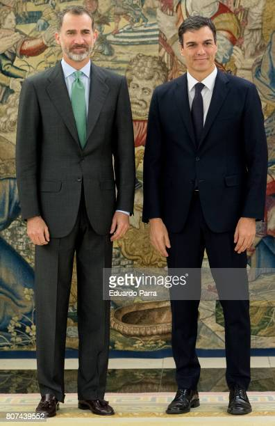 General Secretary of the PSOE Pedro Sanchez meets King Felipe VI of Spain at Zarzuela palace on July 4 2017 in Madrid Spain