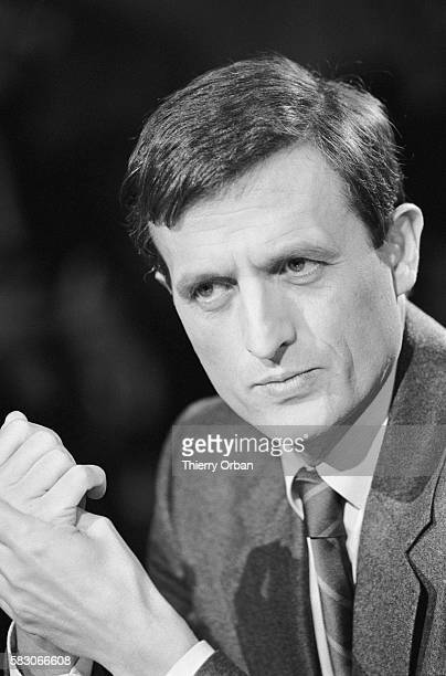 General secretary of the Republican Party Francois Leotard participates in a debate on TF1 prior to the 1985 French regional elections Journalist...