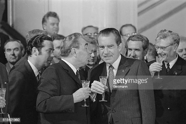 General Secretary of the Soviet Communist Party Leonid I. Brezhnev, offers a toast to President Richard Nixon following the signing of the Strategic...