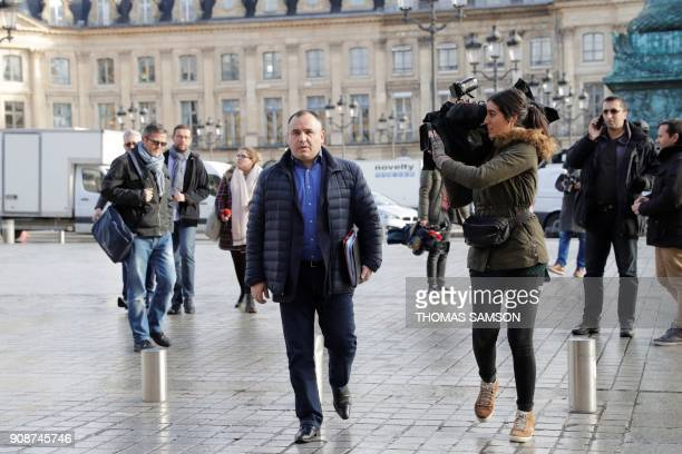 General Secretary of the UfapUnsa penitentiary union JeanFrancois Forget arrives for a meeting with the French Justice minister on January 22 2018 at...